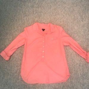 J. Crew Pink Partial Button Down Shirt